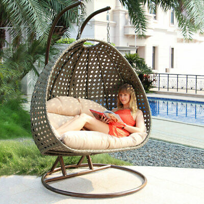 Sensational Patio Wicker Egg Chair Outdoor Hanging Chair Rattan Porch Swing Chair W Stand Home Interior And Landscaping Ologienasavecom