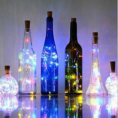 10PCS 2M LED Wine Bottle Fairy String Light Cork Starry Night Lamp Xmas Wedding