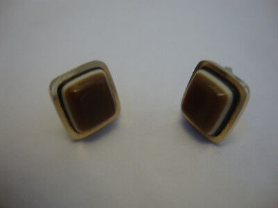 Nice old vintage retro 1960's 70's retro cuff links banded agate stone set