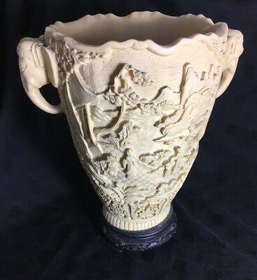Chinese Willow Pattern Elephant Handles Large Antique Resin Vase Planter