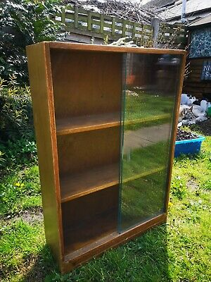 Small antique vintage wooden bookcase, useful for CDs etc, London Made very neat