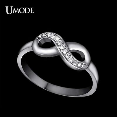 UMODE 8 Shaped Knot White Gold Color Top Grade Tiny Top Grade CZ Cubic Zirconia