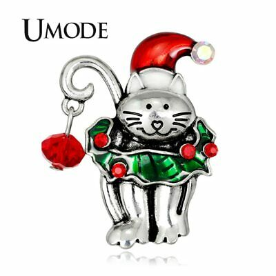 UMODE Cat Brooches Christmas Pins for Girls Cute Metal Trendy Cloth Jewelry