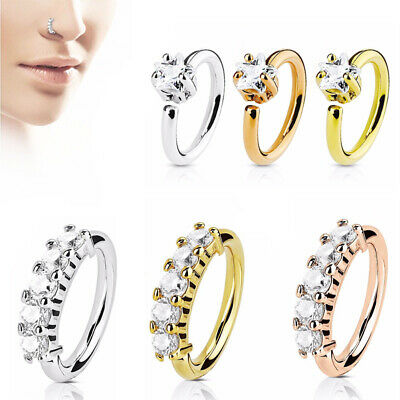 Crystal Zircon Nose Septum Ring Helix Tragus Cartilage Ear Piercing Jewellery