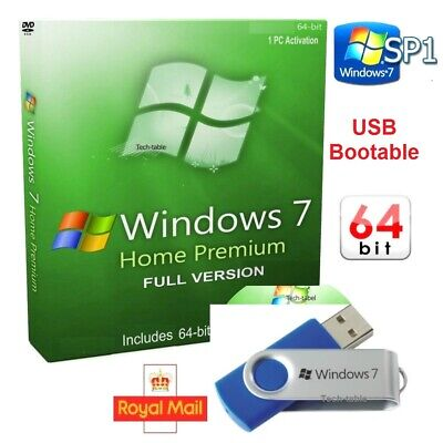 Windows 7 Home Premium USB Bootable 64-Bit + CoA SP1 Full Version License key 10
