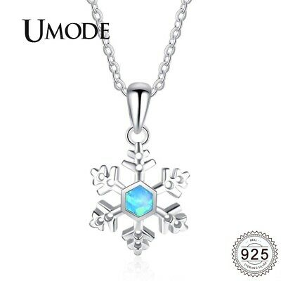 UMODE Blue Opal Snow Flack 925 Sterling Silver Chain Necklaces Pendant for