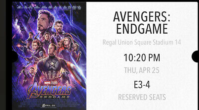Avengers Endgame Two Tickets NYC 4DX 3D Fan Event Night 4/25 Union Square