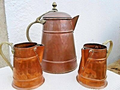 Antique Copper & Brass Water Jug With Lid & Mugs Jugs  Circa 1900 Arts & Crafts