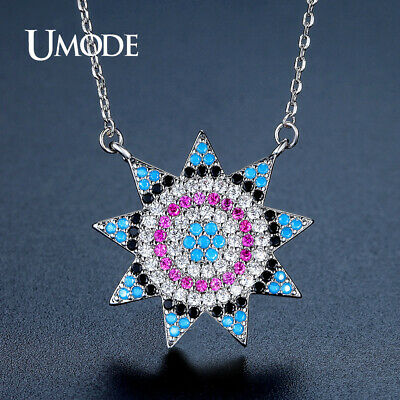 UMODE New Long Link Chain Sunflower Pendant Necklaces for Women Colorful