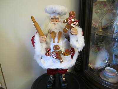 CHRISTMAS DECORATIONS - GINGERBREAD BAKER SANTA - Glass Eyes