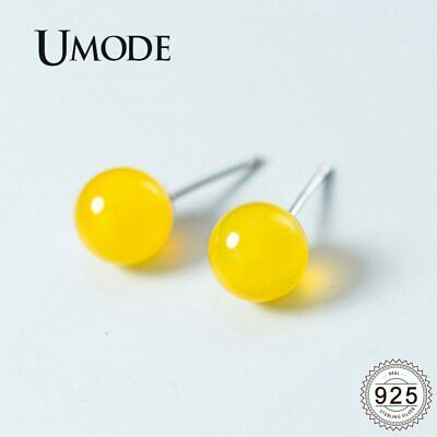 UMODE Real 925 Sterling Silver Earrings for Women Yellow Agate 4-8mm Small Cute