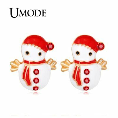 UMODE Small Christmas Red Hat Scarf High Quantity CZ Stone Snowman Studs