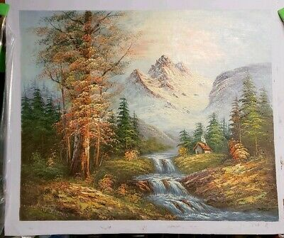 Oil Painting On Canvas  Fall mountain scene with cottage and river fall