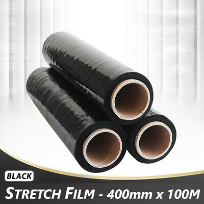 3 - Strong Rolls Black Pallet Stretch Shrink Wrap Cast Packing Cling Film