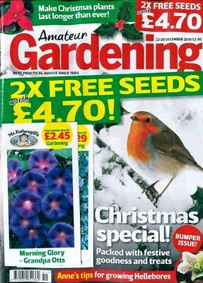 AMATEUR GARDENING MAGAZINE ISSUE 22nd DECEMBER 2018 WITH FREE SEEDS ~ NEW ~