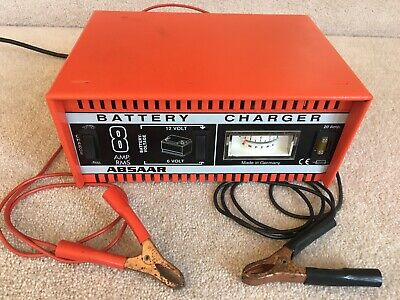 Vintage German Absaar 8 Amp Battery Charger, For 12V & 6V Car / Motorcycle Vgc