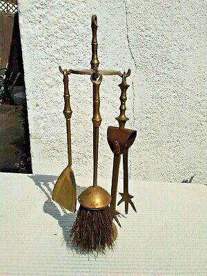 VINTAGE MINIATURE BRASS FIRE COMPANION SET HEIGHT 24 cm