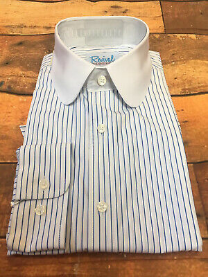 Beaumont 1930s 1940s Style Revival Blue Stripe Shirt With Club Collar