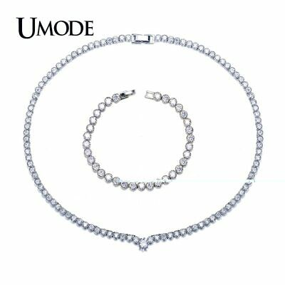 ef070a7002d1 UMODE Fashion White Gold color Crystal Wedding Jewelry Sets for Women Tennis
