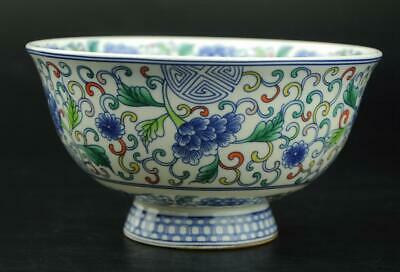 chinese famille rose Porcelain Hand-painted flower bowl / Qianlong mark