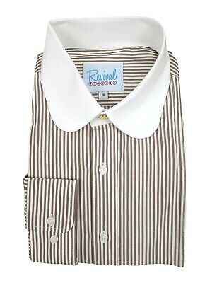 Beaumont 1930s 1940s Style Revival Cedar Brown Stripe Club Shirt With Gold Stud