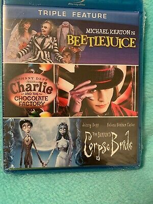 Beetlejuice / Charlie And The Chocolate Factory/Corpse Bride - Blu-Ray Disc NEW