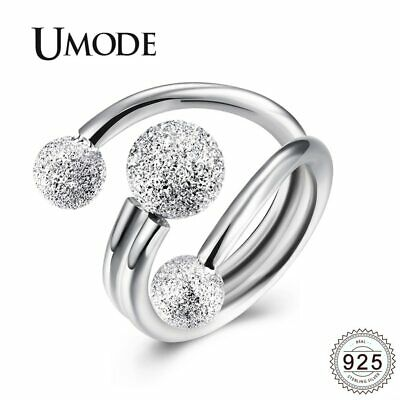 UMODE Ball Layered 925 Silver Sterling Rings For Women Open Adjustable Cubic