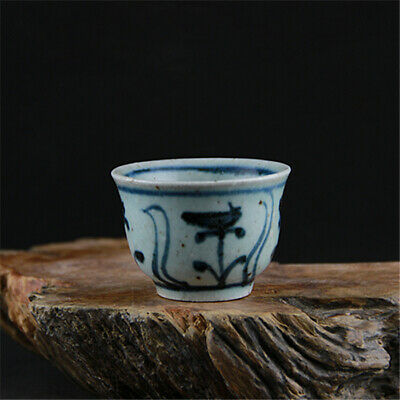 Old Collection Antique Chinese Ming dynasty blue white porcelain wine cup