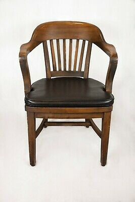 Vintage Sikes Wooden Banker / Lawyer/ Schoolmaster/ Courtroom Arm Chair- Leather