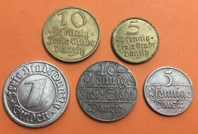 Poland German Danzig Job Lot X5Coin *M75