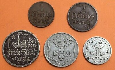 Poland German Danzig Job Lot X5Coin *M77