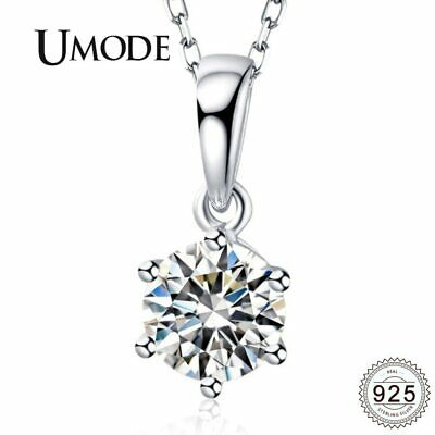 UMODE 925 Sterling Silver Chains Necklaces Women Semiprecious Stones CZ