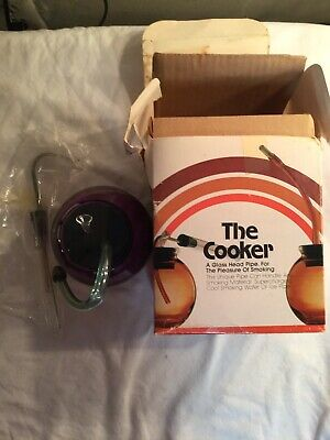 "Vintage: Purple The Cooker """"Glass Head """" RARE! UnUsed tobacco Hookah Bong Pipe"