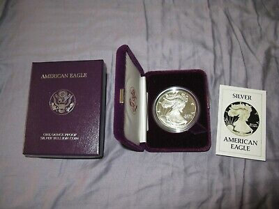 1986 - S AMERICAN EAGLE PROOF COIN - INAUGURAL YEAR - I Ounce. SILVER - Box/COA
