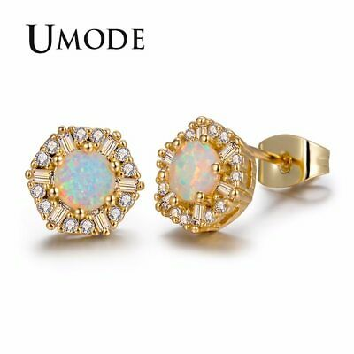 UMODE Fashion Round White Fire Opal Stone Snow Flower Stud Earrings for Women