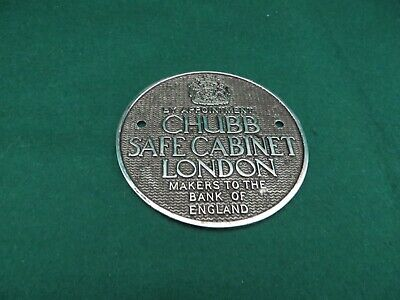Vintage Chubb Safe Plaqueby Royal Appointment Makers To The Bank Of England