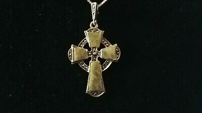 Vintage Celtic Cross - Connemara Marble and Marcasite Crystals. Irish Sterling