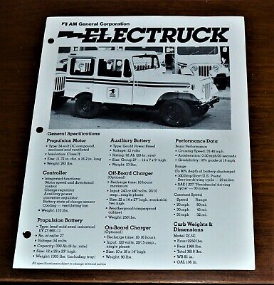 VTG Brochure AM General Electruck U.S. Mail Electric Jeep