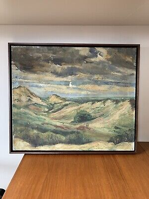 Antique Vintage French Oil Painting Dark Landscape 19th Century