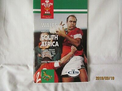 Wales v South-Africa. Rugby Union. Programme. November 1994.