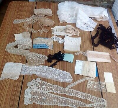 Collection Of Antique Lace Trimmings Many On Original Or Vintage Cards