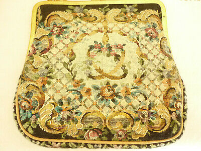 Vintage 1920/30's Petit Point Purse With Brass Frame & Chain.