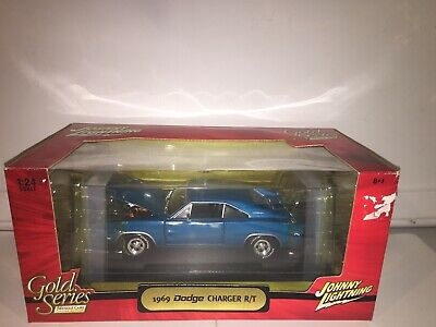 1:24 JOHNNY LIGHTNING MUSCLE CARS Blue 1969 DODGE CHARGER R/T Rare Gold Series