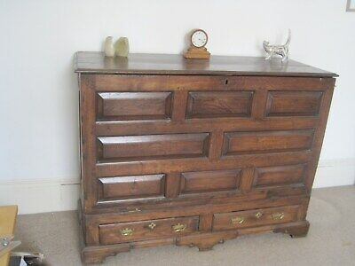 Late 18th/early 19th C  Oak drop front chest of drawers