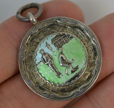 1933 Antique Solid Silver & Enamel Bowling Medal Pocket Watch Fob Pendant