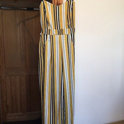 Womens Yellow Striped Jumpsuit Size 10