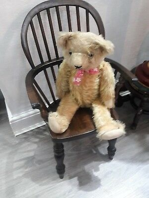 Antique style windsor wooden childs dolls bears high back arm chair