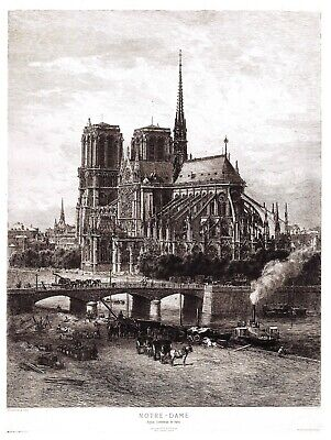 Beautiful 8 x 6 inch Art Print of Notre Dame Cathedral, Paris c1879-90 France