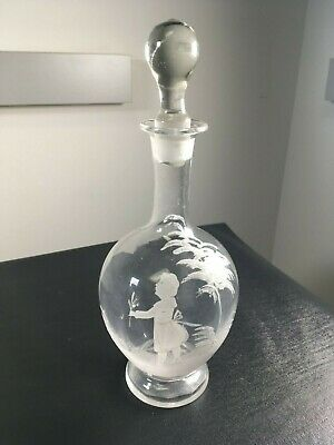 Beautiful Mary Gregory Hand Blown Painted Enamel Art Clear Glass Decanter