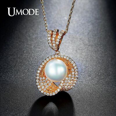 UMODE Glittering Simulated Pearl Pendant Necklaces Gold Color Jewelry for Women